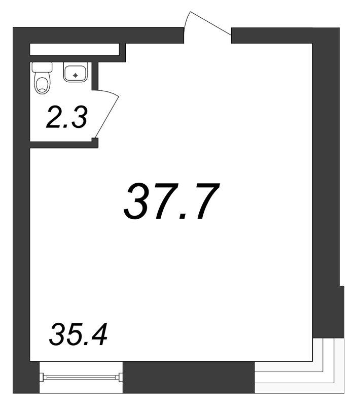 Планировка Коммерческое помещение площадью 37.7 кв.м в ЖК «Речной»