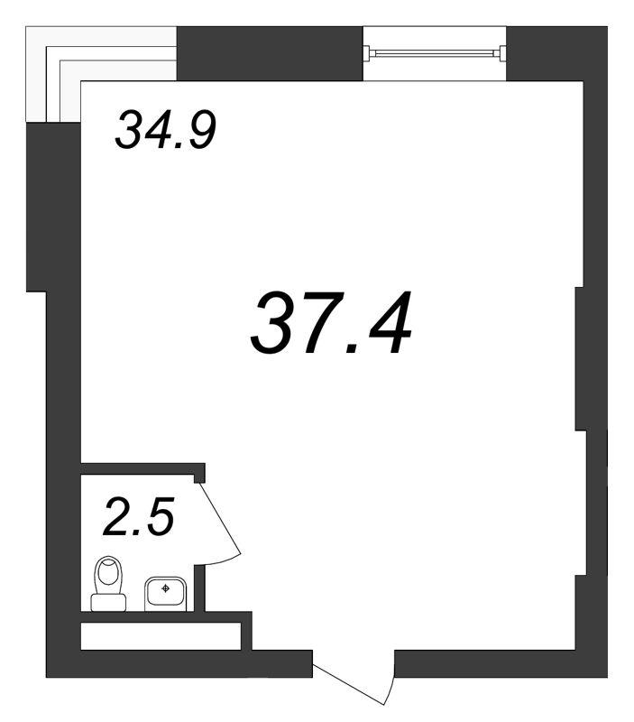 Планировка Коммерческое помещение площадью 37.4 кв.м в ЖК «Речной»