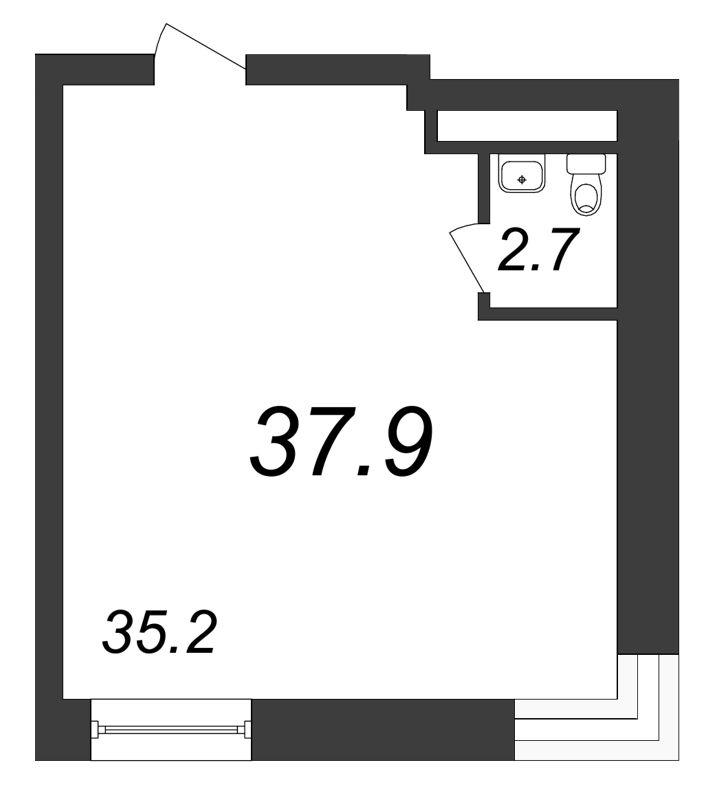 Планировка Коммерческое помещение площадью 37.9 кв.м в ЖК «Речной»