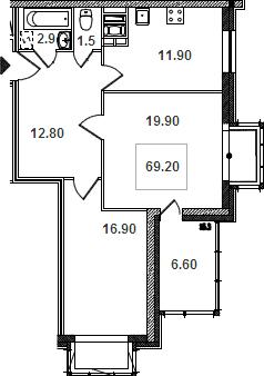 Планировка Двухкомнатная квартира площадью 70.1 кв.м в ЖК «Речной»