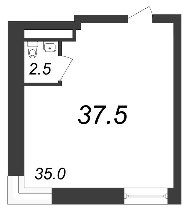 Планировка Коммерческое помещение площадью 37.5 кв.м в ЖК «Речной»